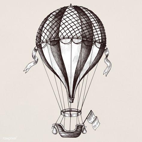 Hand drawn hot air balloon | premium image by rawpixel.com