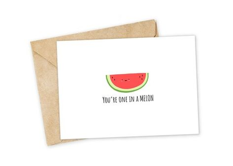 One in a Melon - Melon Greeting Card, Happy Card, I Love You Card, Foodie card, Birthday Card, Nerdy Pun Card, Punny Greeting Card