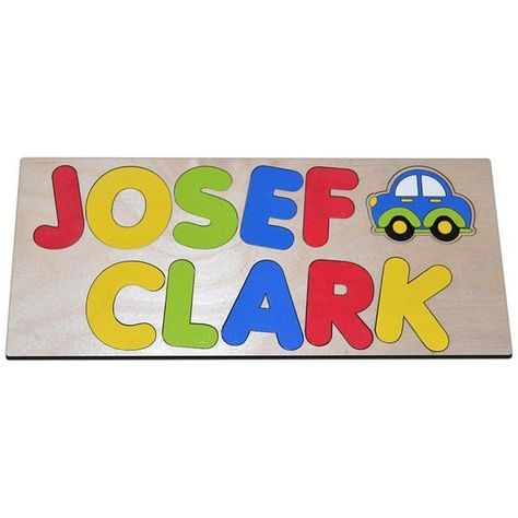 Zoom Zoom Personalized Wooden Name Puzzle With Two Names /& Car a Great First Birthday Gift