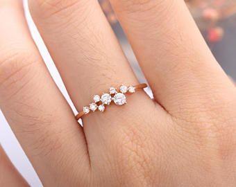 Rose Gold Engagement Ring Diamond Cluster Ring Flower Wedding Band