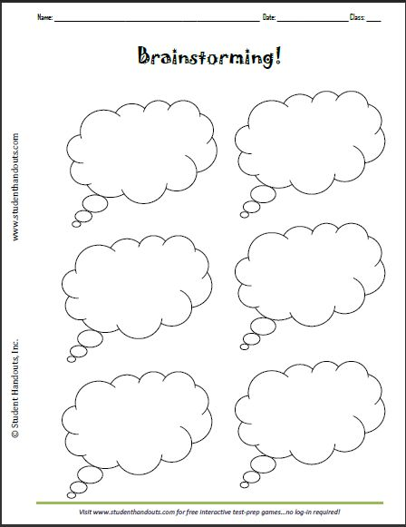 Brainstorming Thought Bubbles Worksheet - Free to print (PDF file