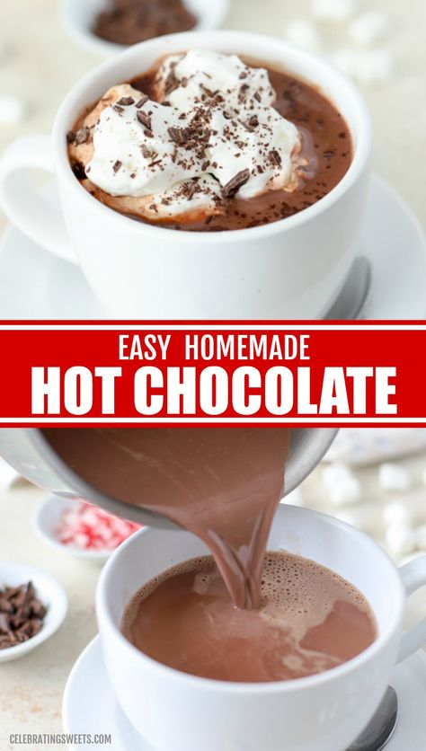Easy Homemade Hot Chocolate made with cocoa powder and chocolate chips. Easy Homemade Hot Chocolate made with cocoa powder and chocolate chips. Hot Chocolate Recipe Easy, Crockpot Hot Chocolate, Homemade Hot Chocolate, Nestle Hot Cocoa Recipe, Homemade Hot Cocoa Recipe, Healthy Hot Chocolate, Cocoa Powder Recipes, Cocoa Recipes, Sweets Recipes