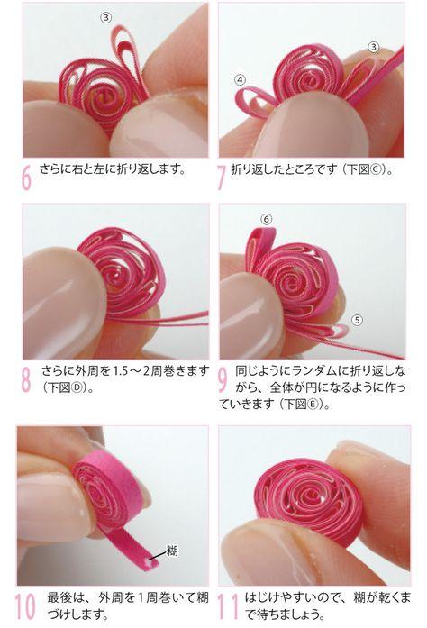 ハート型にしきつめた ペーパークイリングの薔薇の作り方(ペーパークラフト)   ぬくもり