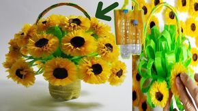 How To Make Sunflowers From Used Plastic Bottles And Crackles Diy Su Creative Plastic Bottles Flowers