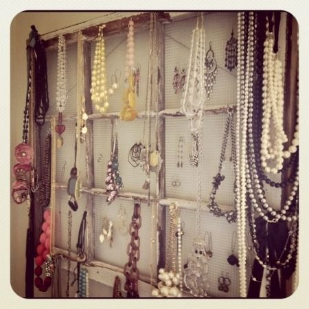 The jewelry display/organizer I made from a vintage salvage window & some hardware cloth.