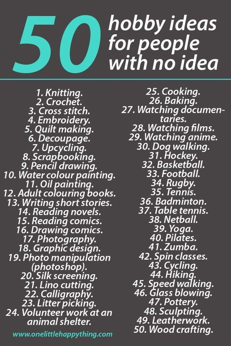 I need a hobby, Hobbies, Hobbies to try, Hobbies for women, Self improvement, Things to do when bored - List of 50 hobby ideas for people with no idea hobby idea ideas List people - #Ineed #ahobby