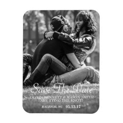 Elegant Script | Custom Photo Save the Date Magnet - rustic gifts ideas customize personalize