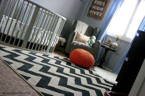 This gray @STOKKE® Sleepi crib was the starting inspiration for this on-trend baby boy nursery! #nursery #chevron
