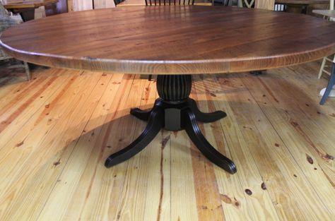 72 Round Oak Farm Table Ecustomfinishes Round Farmhouse Table Round Dining Table Glass Round Dining Table