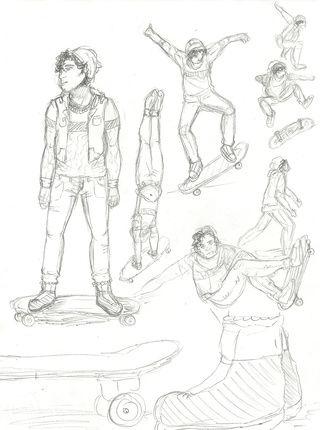 Skateboard Poses Buscar Con Google Skateboard Poses Humanoid Sketch