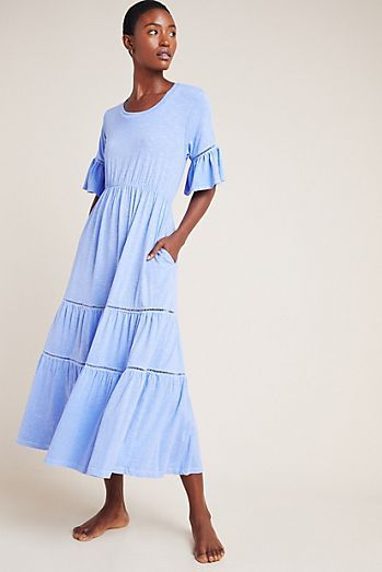 Anthropologie Love In Long Sleeve Loose Mini Cotton Dress A Line With Embroidery