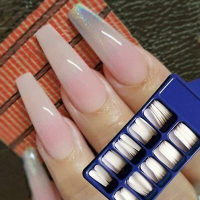 100pcs False Nail Tips Ballerina Full Cover Long Coffin Fake Nails Art Manicure Ebay In 2020 French Acrylic Nails Fake Nails Long Fake Nails