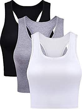 2 Pieces Basic Crop Tank Tops Sleeveless Racerback Crop Sport Yoga Top Bra for Women Girls