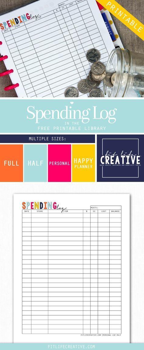 Free printable Spending Log planner insert Available in multiple