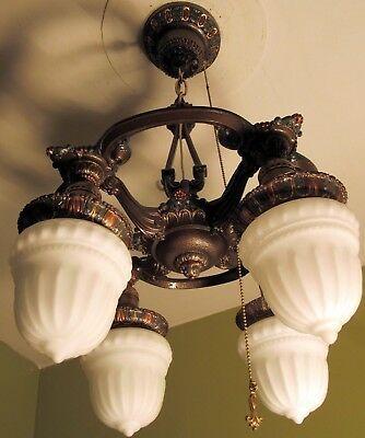 Rare Antique Vintage Art Deco Ceiling Light Fixture Chandelier Or
