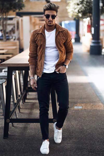 veste à col marron pour homme morphologie en H | Habillement