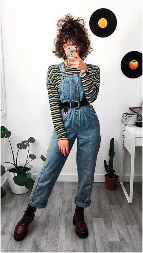 jeans overall kombinieren Cute Casual Outfits, Retro Outfits, Grunge Outfits, Vintage Outfits, Hipster Outfits, Other Outfits, Mode Outfits, Girl Outfits, Look Fashion