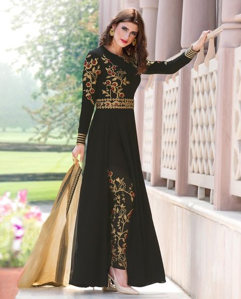 Black & Dark Beige Designer Embroidered Georgette Anarkali Suit – Saira's Boutique