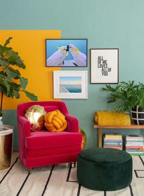 We Asked 15 Design Insiders to Predict Spring Color Trends Colour Blocking Interior, Color Blocking, Urban Interior Design, Ikea Interior, Interior Colors, Pink Velvet Chair, Decoration Plante, Love Wall Art, Dashboard Design