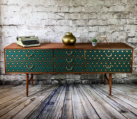 Upcycled vintage retro sideboard TV stand, with mid century geometric design - Vintage retro sideboard upcycled sideboard teak sideboard - Retro Home Decor, Painted Furniture, Upcycled Vintage, Retro Dresser, Mid Century Sideboard, Retro Vintage Sideboard, Retro Sideboard, Furniture Makeover, Teak Chest