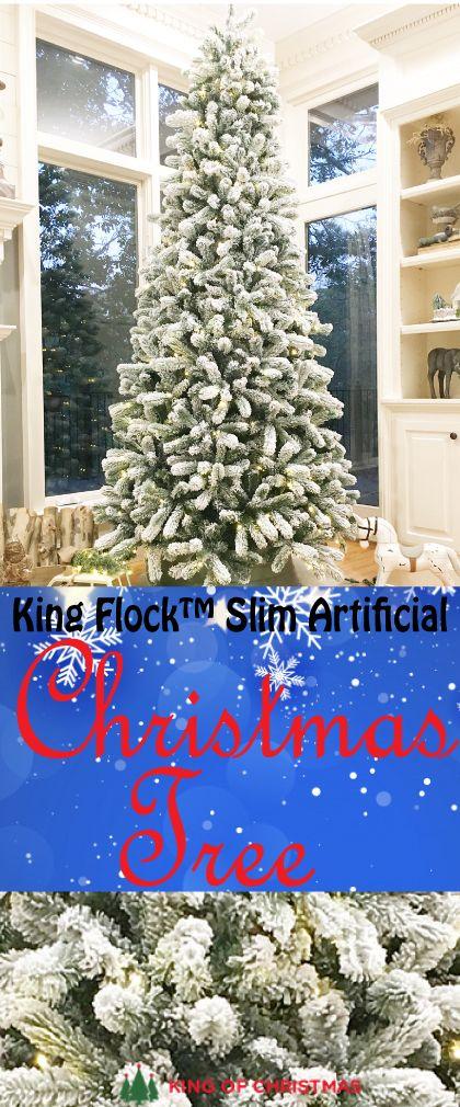 King Flock Slim Artificial Christmas Tree King Of Christmas Flock