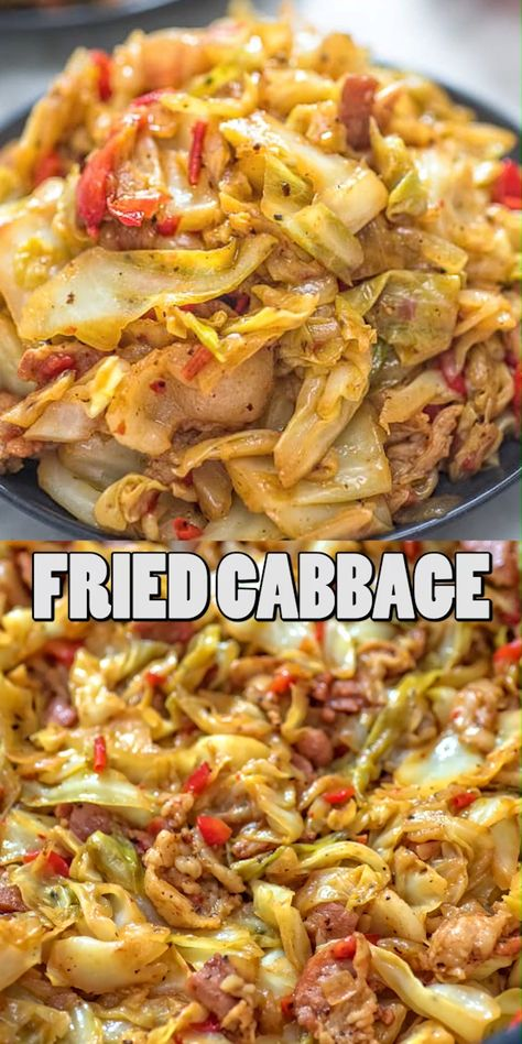 This Fried Cabbage recipe is insanely good! Made with bacon, onion, bell pepper, and a touch of hot sauce, it is easy to make, simple, and comes out perfect every time! FOLLOW Cooktoria for more deliciousness! #cabbage #onepot #bacon #lowcarb #keto #ketosis  #dinner #lunch #cooktoria