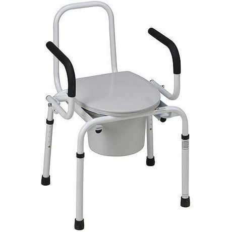 Duro Med Dmi Portable Toilet For Seniors And Elderly Drop Arm Steel Bedside Commodes Adult Potty Chair Portable Bucket Toilet Gray 19 In Portable Toilet Bucket Toilet Seat Potty Chair
