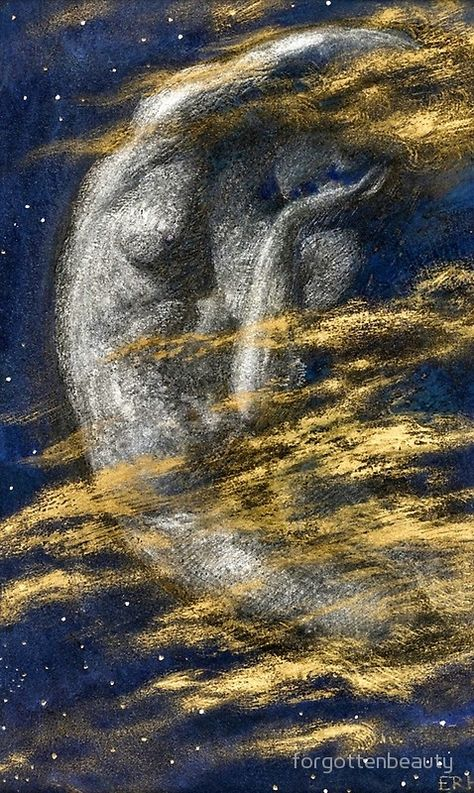 The Weary Moon by Pre-Raphaelite painter Edward Robert Hughes. Hughes was influenced by his uncle and eminent Pre-Raphaelite Brotherhood artist, Arthur Hughes, under whom he studied until he entered the Royal Academy Schools. He also worked closely. Edward Robert Hughes, Potnia Theron, Art Et Illustration, Pre Raphaelite, Beltane, Moon Goddess, Gustav Klimt, Moon Art, Nocturne