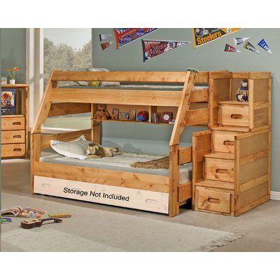 Loon Peak Abordale Twin Bunk Bed Wayfair Stairway Bunk Beds Bunk Bed With Trundle Bunk Beds