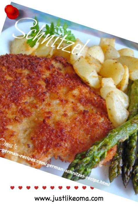German Schnitzel Recipe (Jäger-Schnitzel) ... This German schnitzel recipe is great if you have need of quick and easy dinner recipes that can be altered into various different meals. Schnitzel are really just thin cutlets and can be from veal, pork, chicken, or turkey. Pound the meat with a meat hammer, bread it and fry it.  Wunderbar! Check out http://www.quick-german-recipes.com/german-schnitzel-recipe.html