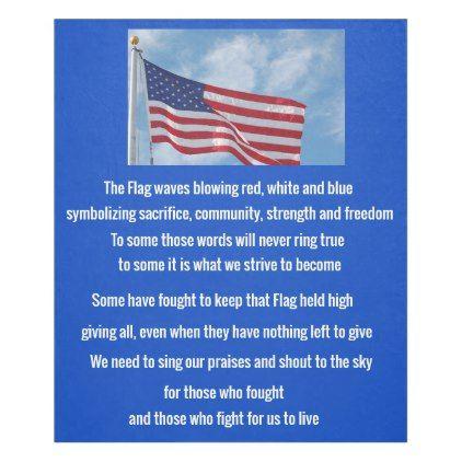American Flag Poem Fleece Blanket Zazzle Com American Flag Fleece Blanket Flag