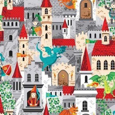 100/% COTTON Fabric Grey White Blue Children/'s Material DRAGONS KNIGHTS CASTLES