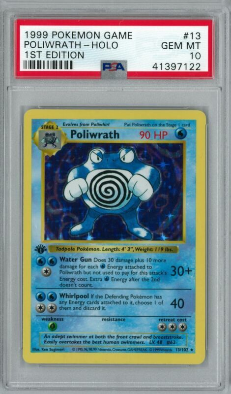 Pokemon Card 1st Edition Shadowless Poliwrath Base Set 13//102 PSA 8