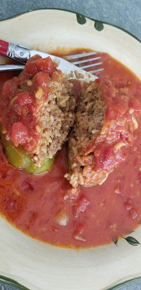 Easy Stuffed Bell Peppers With Ground Beef And Rice Stuffed Peppers Beef And Rice Easy Stuffed Pepper Recipe