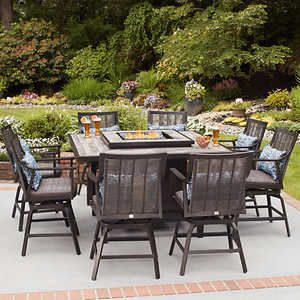 Paris 9 Piece High Dining Set With Fire Fire Pit Table Set Outdoor Dining Set Patio Set