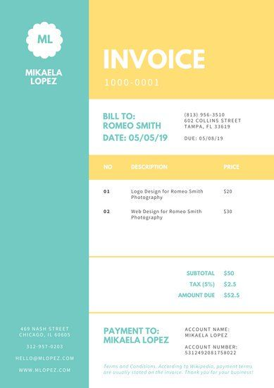 Customize 178 Invoice Templates Online Canva Invoice Template Printing Business Cards Printable Invoice