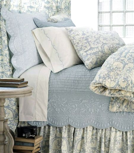 Dusty Blue Bedding.  Master bedroom linens white with soft blue
