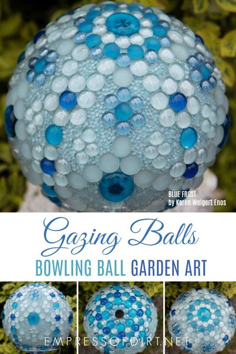 Create Gorgeous Gazing Balls From Bowling Balls With Flat Marbles And Mosaic Methods. Bowling Ball Crafts, Bowling Ball Garden, Mosaic Bowling Ball, Bowling Ball Art, Garden Balls, Recycled Garden Art, Garden Crafts, Garden Ideas, Diy Crafts
