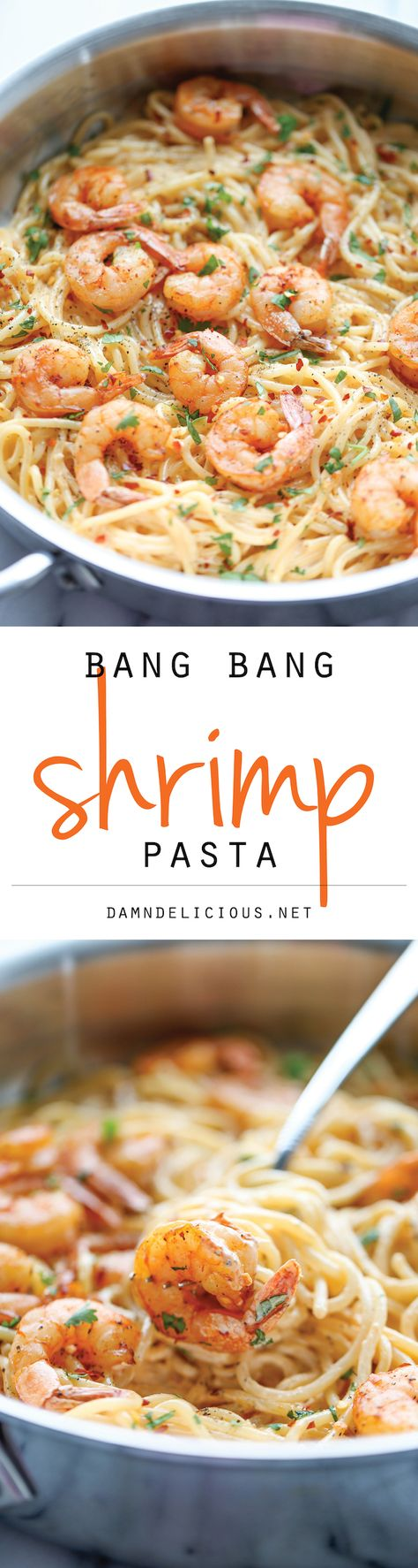 Bang Bang Shrimp Pasta - The favorite bang bang shrimp is turned into the creamiest, easiest pasta dishes of all!