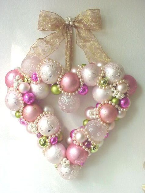 heart wreath  ~ pink ornaments & pearls