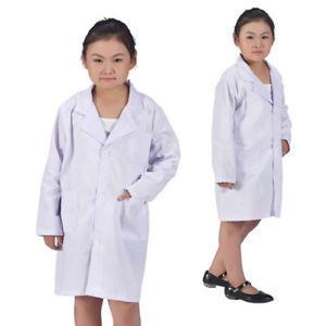 Kids White Lab Coat Doctor Hospital Scientist School Fancy Dress Costume Cosplay