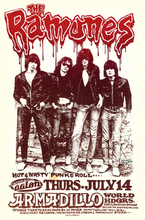 Awesome music posters from Austin shows that took place from 1967-1982. This is the Ramones music poster for a show at Armadillo World Headquarters.