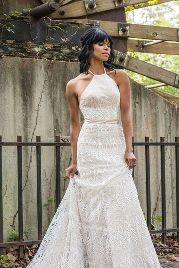 Our Gorgeous Bride In A Stunning Halter Fit And Flare Wedding Dress For Her Rusti Wedding Dress Inspiration Fit And Flare Wedding Dress Atlanta Wedding Venues