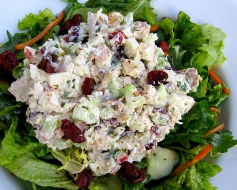 An easy and delicious healthy chicken salad with apples and cranberries made lighter, 220 calories and 5 Weight Watchers Points Plus