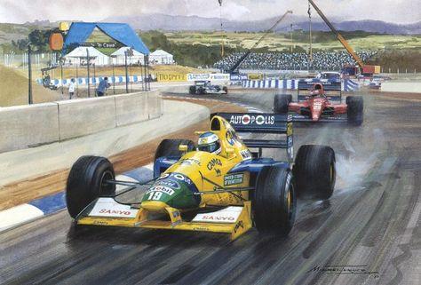 Михаэль Шумахер на Benetton впереди Жана Алези на Ferrari на Гран-при Испании 1991