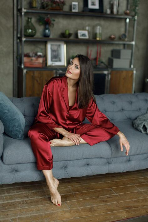 Treat yourself with a Natural Silk Pajama Set (Shirt & Pants) in Red Ruby color for endless comfort and gorgeous elegant look. It has relaxed fit siluette and