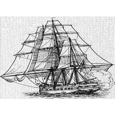 East Urban Home Ship Black Area Rug Sailing Ships Frigate Ship Sailing
