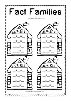 Fact Families / Fact Family Houses / Worksheets / Printables ...