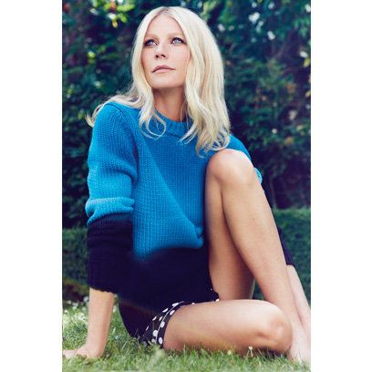 Gwyneth Paltrow, Red December 2013 Perfect eye and sweater color harmony, she must be