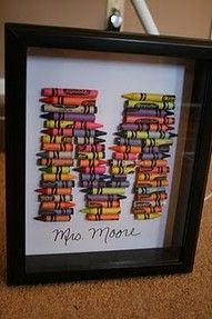 Cute Craft Idea. . .trace a letter onto whitew scrapbook paper, fit into shadow box, hot glue gun on crayons, breaking as necessary, then write name (or even better, have your kid write their own name ) with a black Sharpie!  Fun for a playroom or desk area!